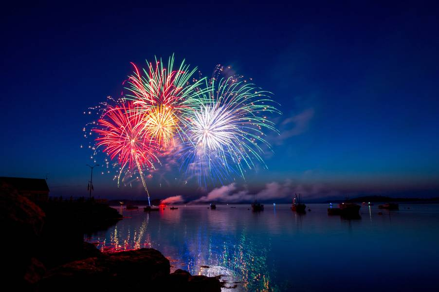 Maine Harbor Fireworks by Ray Hennessy